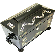 Stylish Regency Tea Chest/Caddy of Ebonised Wood with Mother-of-Pearl Decoration