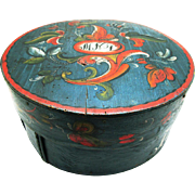Stunning Scandinavian/Norwegian Circular Telemark Rosemaled Box, Initialed & Dated 1831