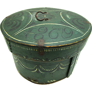 Scandinavian Rosemaled Circular Bentwood Box Dated 1869
