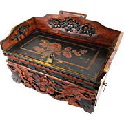 Attractive Chinese Dressing Table Jewelry Box, with Lift-up Section & Drawer, c1880
