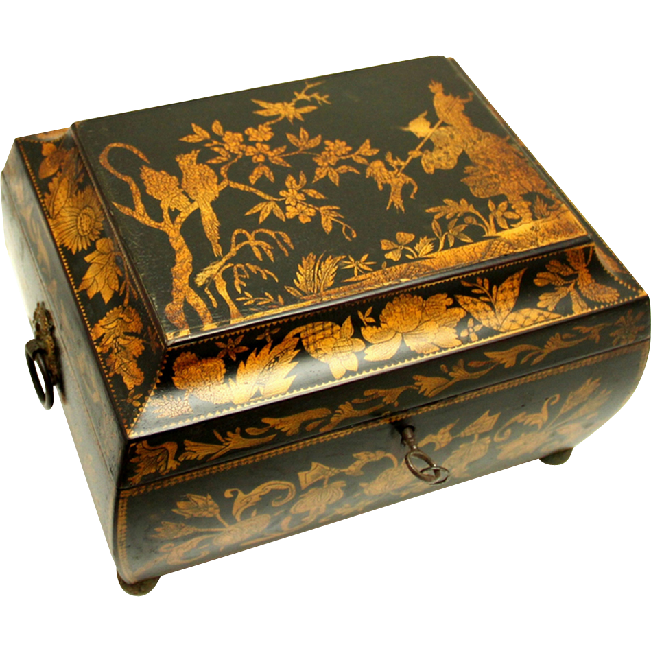 Regency Chinoiserie Penwork Sewing Box and Contents