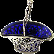 Pretty Sterling Silver Sweet Basket with Cobalt Blue Glass Liner, Birmingham, c1895