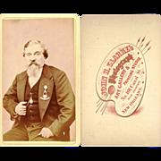 Carte de Visite bearded gentleman Masonic pendant Albert chain fob,American