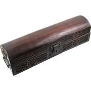 Stylish Chinese Incised Leather Document Box with Scroll, 19th Century