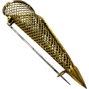Stylish Brooch-form Gilt Mesh Boutonniere, early 20th Century