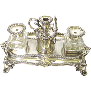 Stunning Sterling Silver Inkstand, maker Henry Wilkinson & Co, Sheffield, c1846