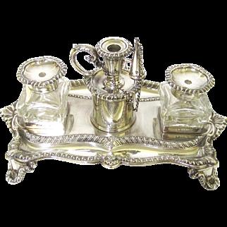 Stunning Sterling Silver Inkstand, maker Henry Wilkinson & Co, Sheffield, c1846