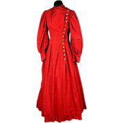 Victorian Red Patterned Princess Line Cotton Calico Gown