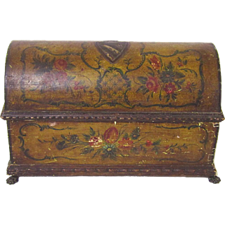 Rare Dome-topped Jewellery Casket of Painted Gesso over Treen, late 18th Century