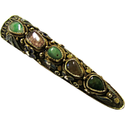 Chinese Filigree, Enamel & Semi-precious Stone Finger Guard Brooch, Vintage