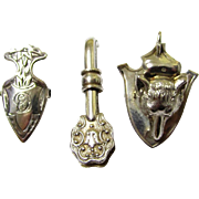Intriguing Trio of Sterling Silver Napkin or Serviette Clips/Holders, early 20th Century