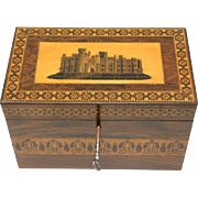 Classic Tunbridge Tea Caddy with Castle Scene, late 19th Century