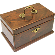 Rare Mahogany & Brass Tea Caddy with Three Compartments, One for Teaspoons & Caddy Spoon, early 19th Century