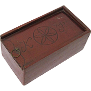 Appealing Americana Painted Folk Art Slide-topped Box with Six-pointed Star Sign & Initials, 19th Century