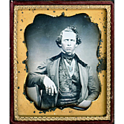 Daguerreotype of Intriguing Gentleman Sitter, Sixth Plate, Fully Cased, c1850