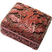Attractive Hinged Cinnabar Box, Chinese, early 20th Century