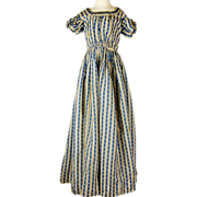 Late Regency Blue and Cream Roller Printed Gown with Puff Sleeves and watch pocket, Jane Austen era