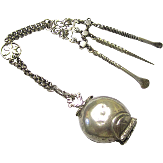 Chinese Silver Chatelaine with Opium Tools & Container, late 19th Century