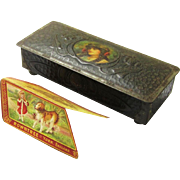 Art Nouveau Rowntree's Tole Confectionary Box plus Special Rowntree's Box-form Advertisement, early 20th Century