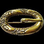 Attractive Art Nouveau Gilt Metal Sash Pin, c1880