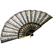 Attractive Black & Gold Lacquer & Lace Fan, early 20th Century