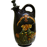 Interesting Kingsware Royal Doulton Dewar's Whisky Flask, Lord Nelson, early-mid 20th Century