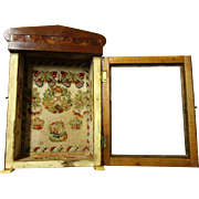Intriguing Burr-veneered Glass-fronted Watch Holder with Petit Point Interior, late Victorian