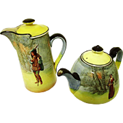 Decorative Royal Doulton Shakespearean Character Teapot & Coffee Pot, c1912