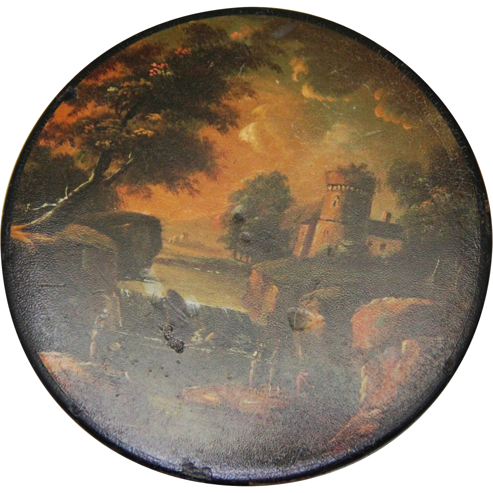 Stobwasser Style Table Snuff Box with landscape scene