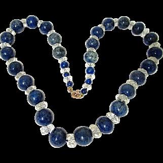 Elegant Lapis Lazuli & Crystal Necklace, Vintage