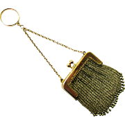 Elegant 9K Gold Finger Ring Chatelaine Purse, Birmingham, c1914
