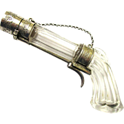 Fantastic French Pistol-form Crystal & Silver Perfume/Smelling Salts Bottle for a Chatelaine, 19th Century