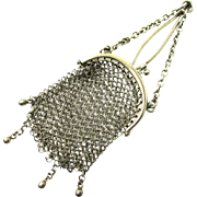 Silver Mesh Chatelaine Coin Purse for a Child or Doll, c1900
