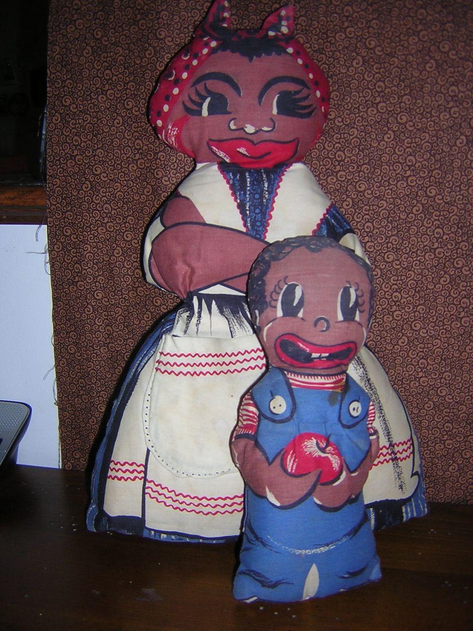 Spring Mills Mammy and Boy Cloth Dolls