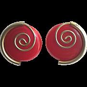 Bakelite Earring in Red with Brass