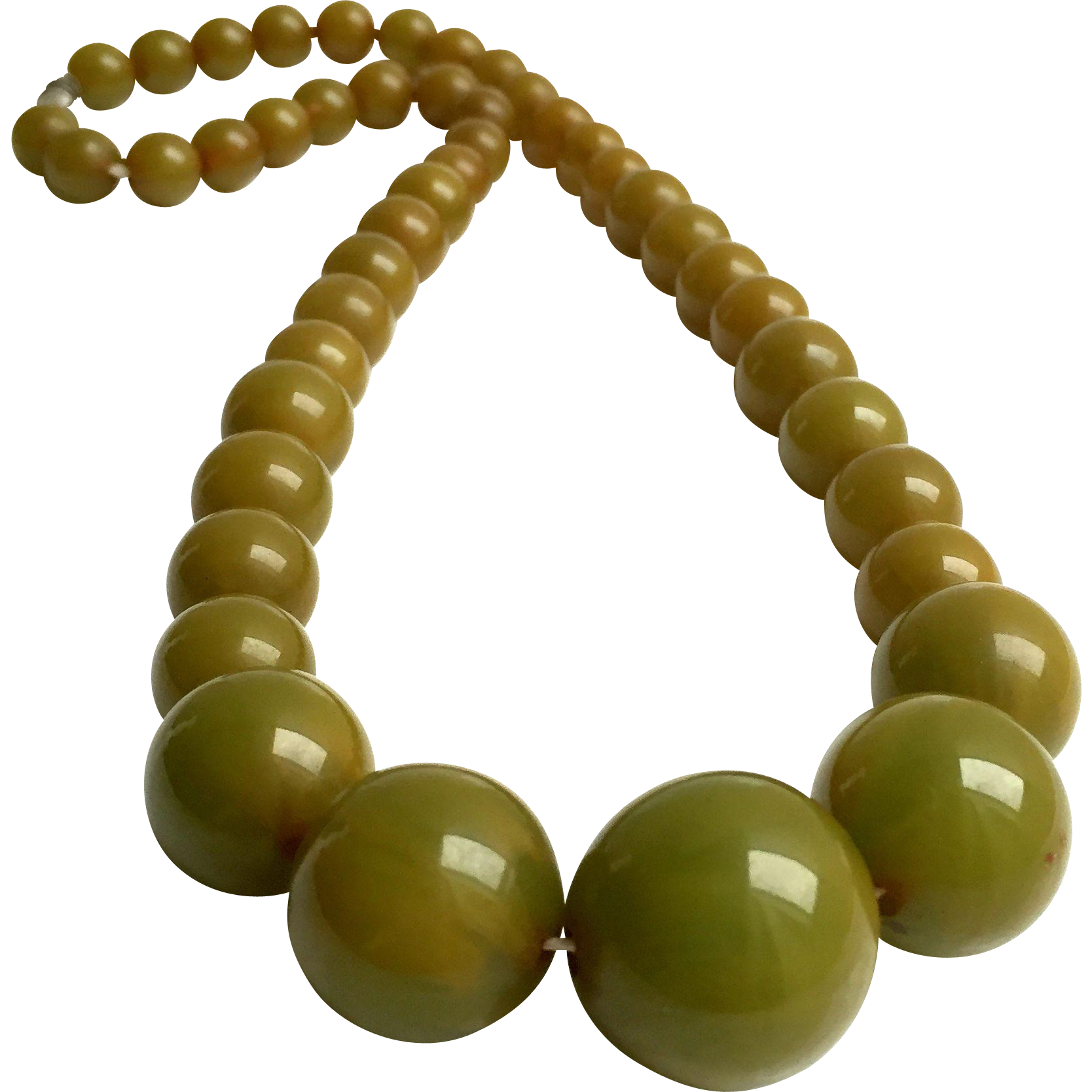 Bakelite Necklace Green Grapes