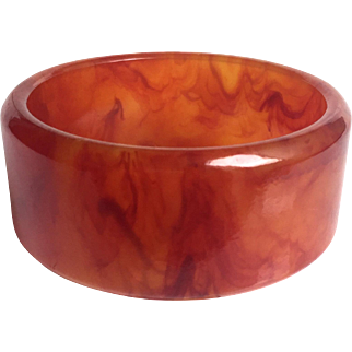 Bakelite Bangle Bracelet Translucent and Marbled