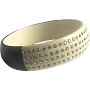 Celluloid and Rhinestone Bangle Bracelet