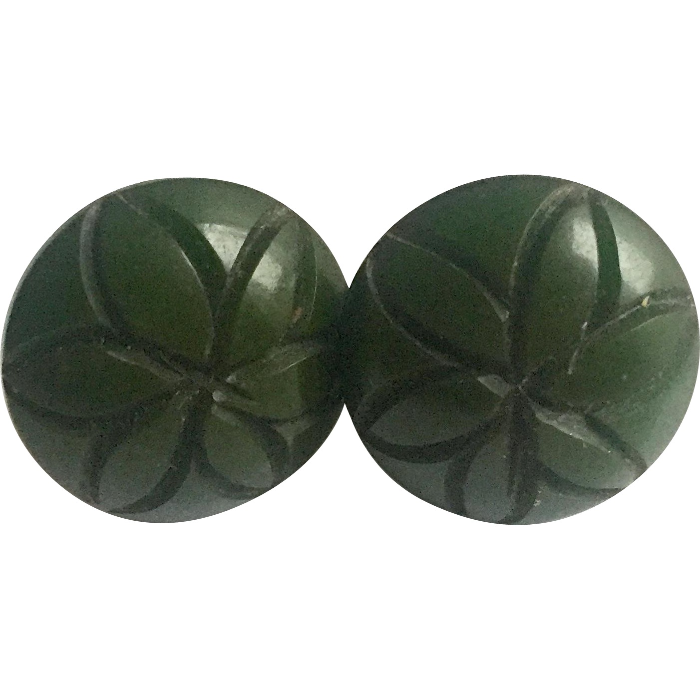 Bakelite Earrings Carved in Green
