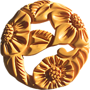 Huge Bakelite Carved Brooch