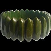 Bakelite Bangle Bracelet Unusual Carving in Green