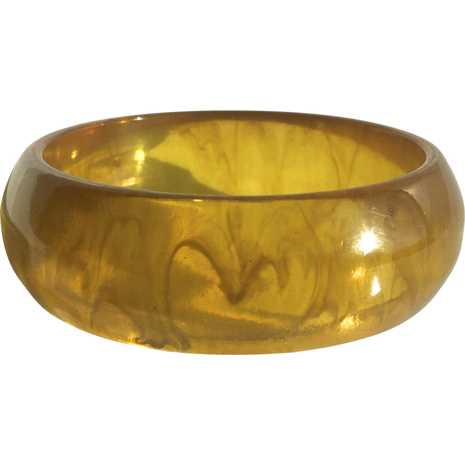 Bakelite Bangle Bracelet Transparent Marbled Apple Juice