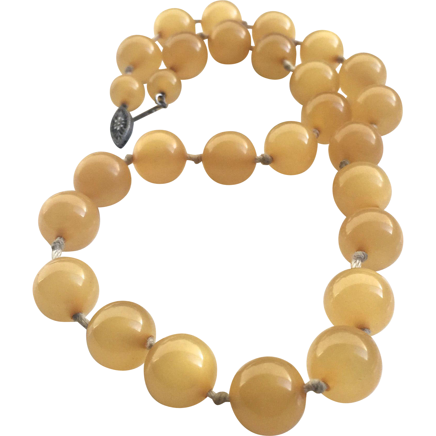"Bakelite 18"" Beaded Necklace in Lemon"