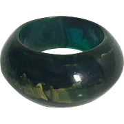 Bakelite Ring in Translucent Blue Moon