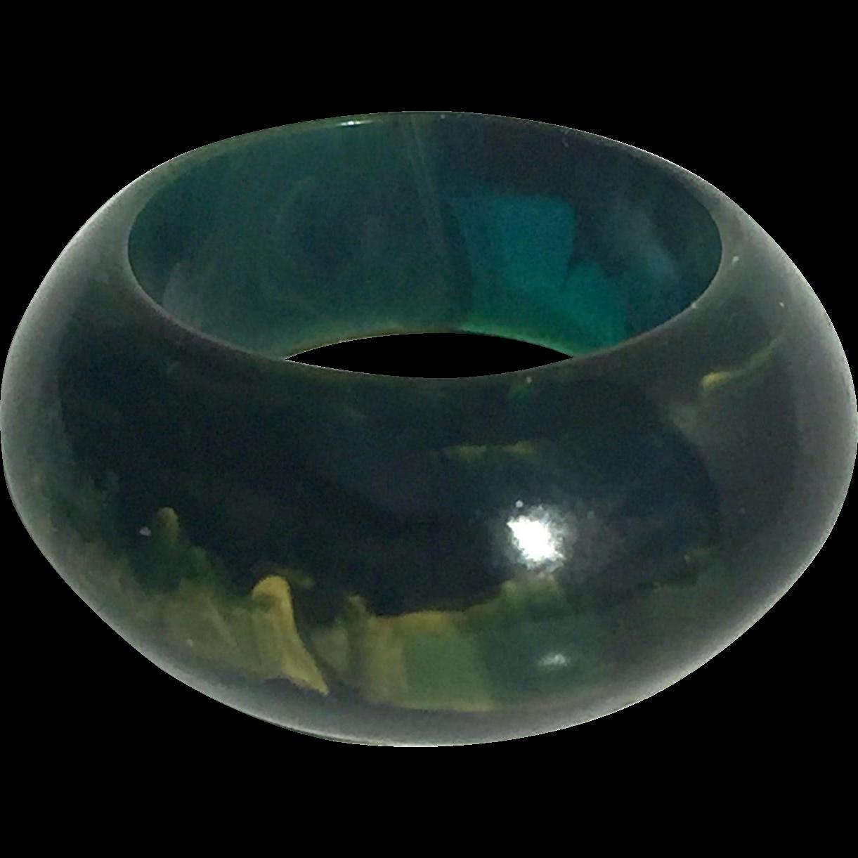 Bakelite Ring in Translucent Blue Moon