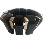 Bakelite Black and Chrome Stretch Fin Bracelet