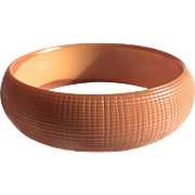 Bakelite Bangle Bracelet Carved in Pumpkin Color