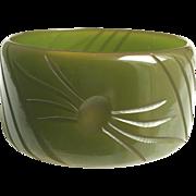 Bakelite Bangle Bracelet Translucent and  Carved