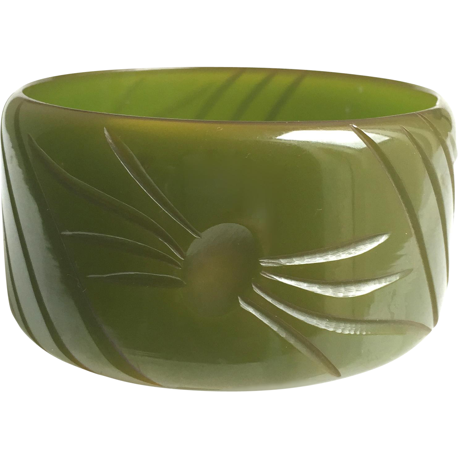Bakelite Bangle Bracelet Translucent and  Carved
