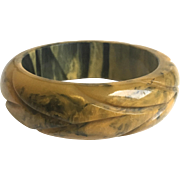 Bakelite Bangle Bracelet Heavily Marbled and Carved